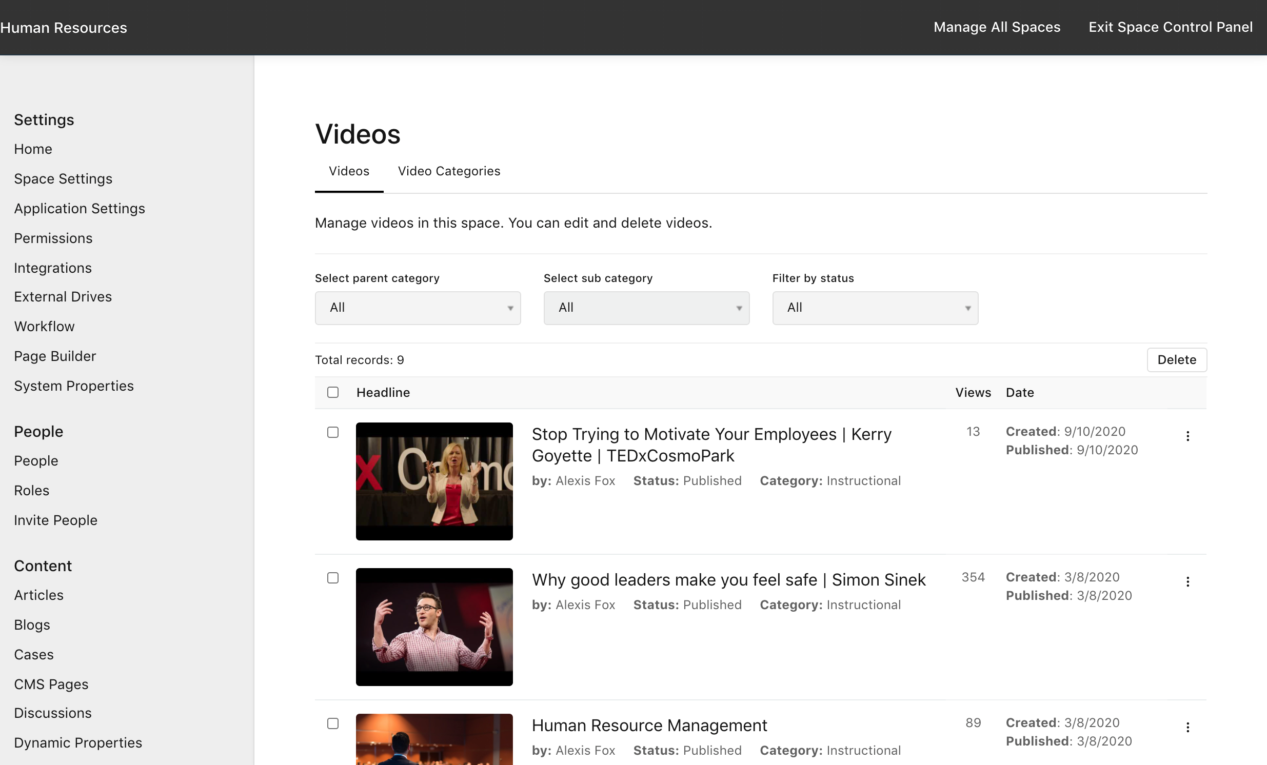 Manage Space > Videos