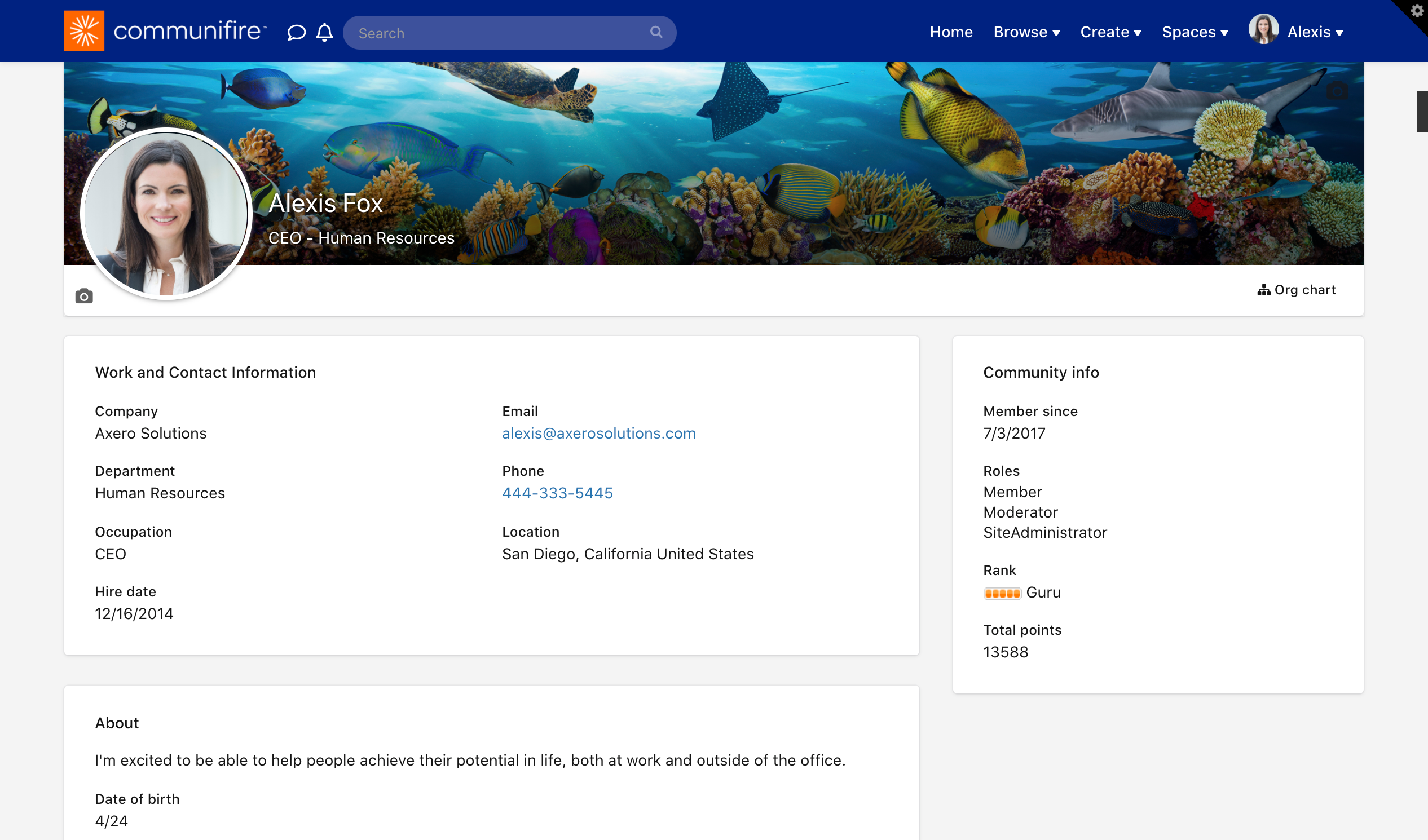 User profile with side menu hidden