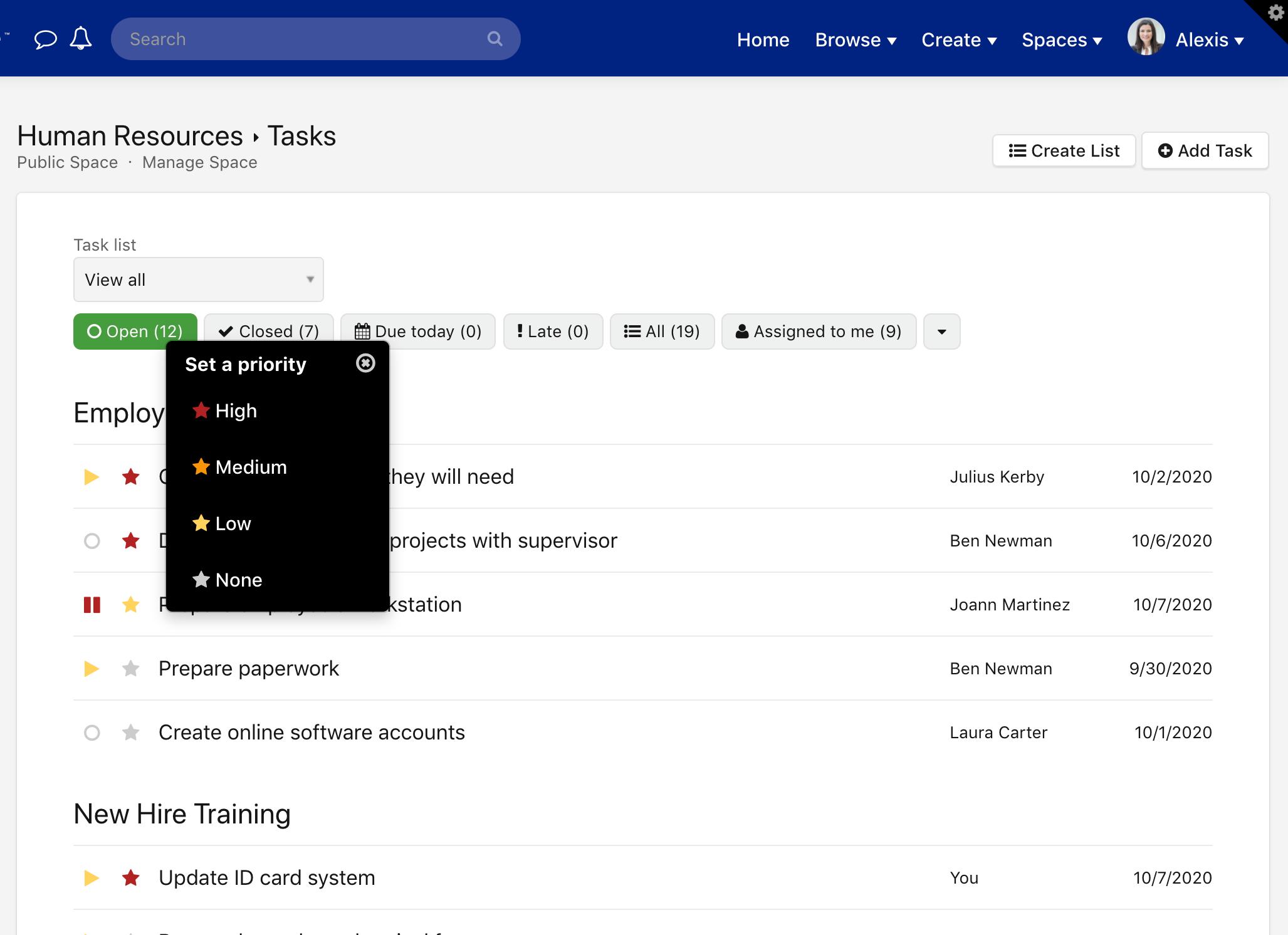Task priority menu