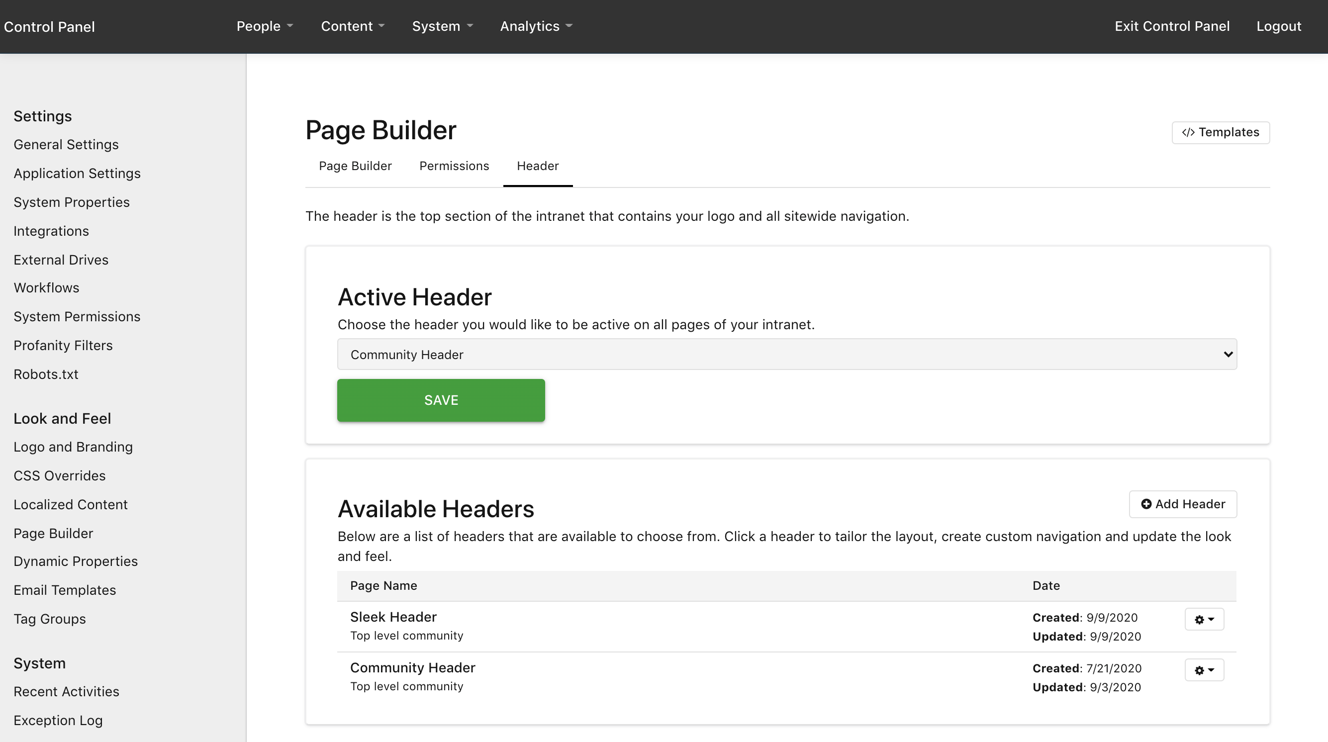 Control Panel > System > Page Builder > Header