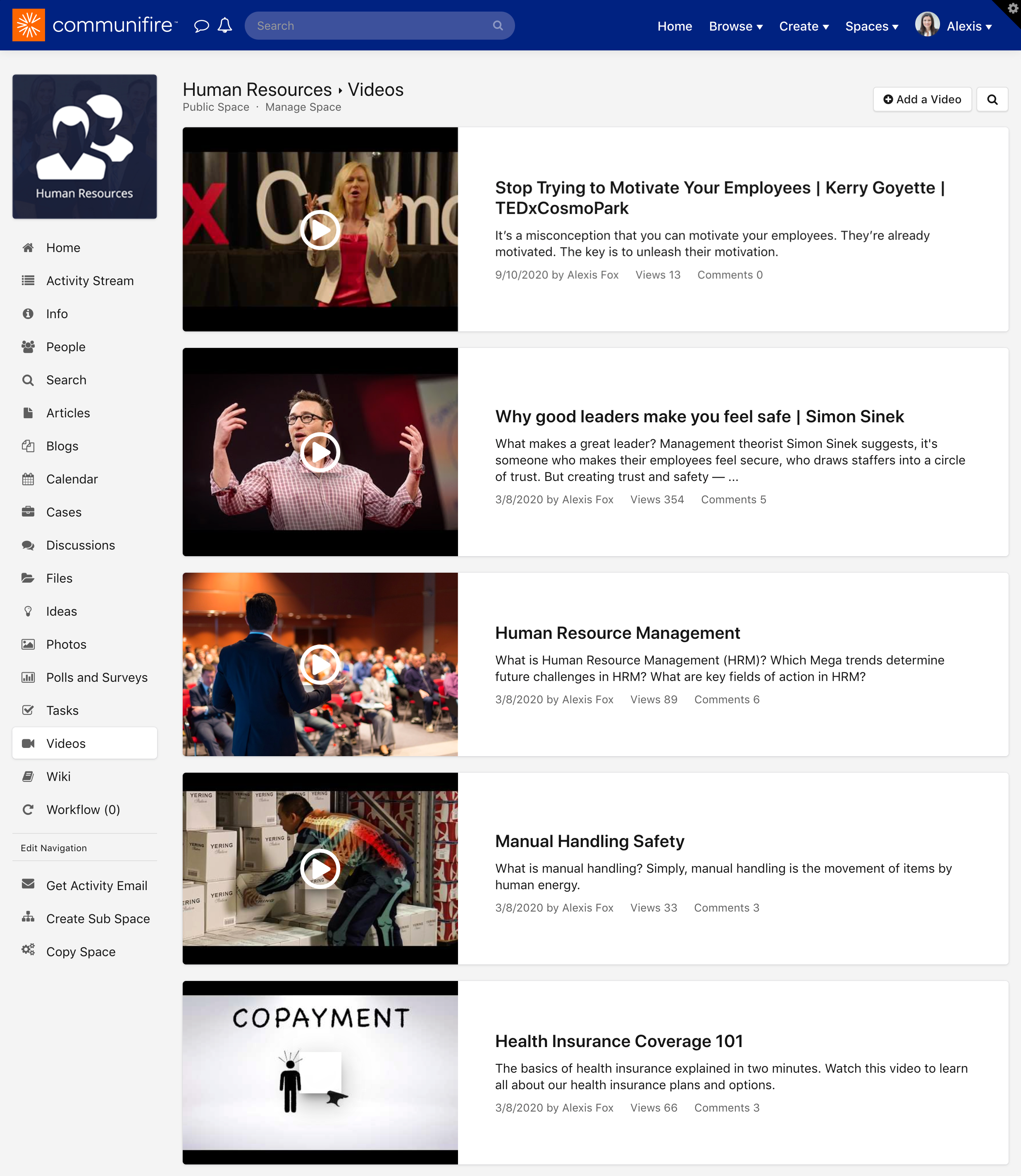 The videos homepage