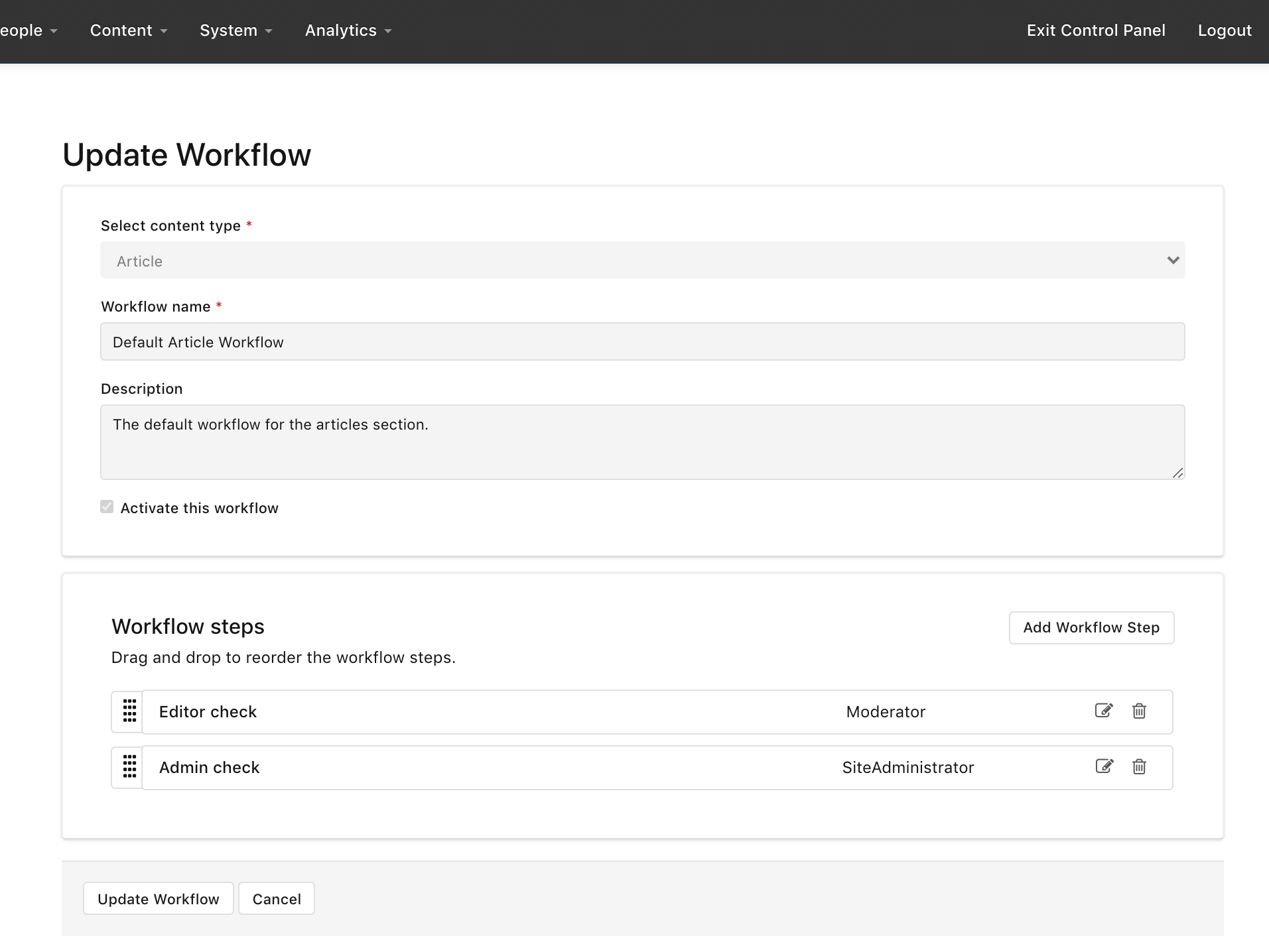 Update workflow in the Control Panel