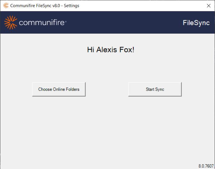 Click Choose Online Folders or Start Sync