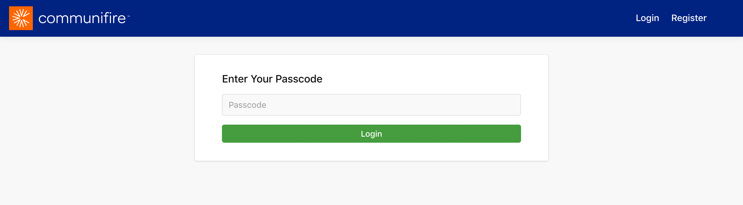 """Enter your passcode"" page"