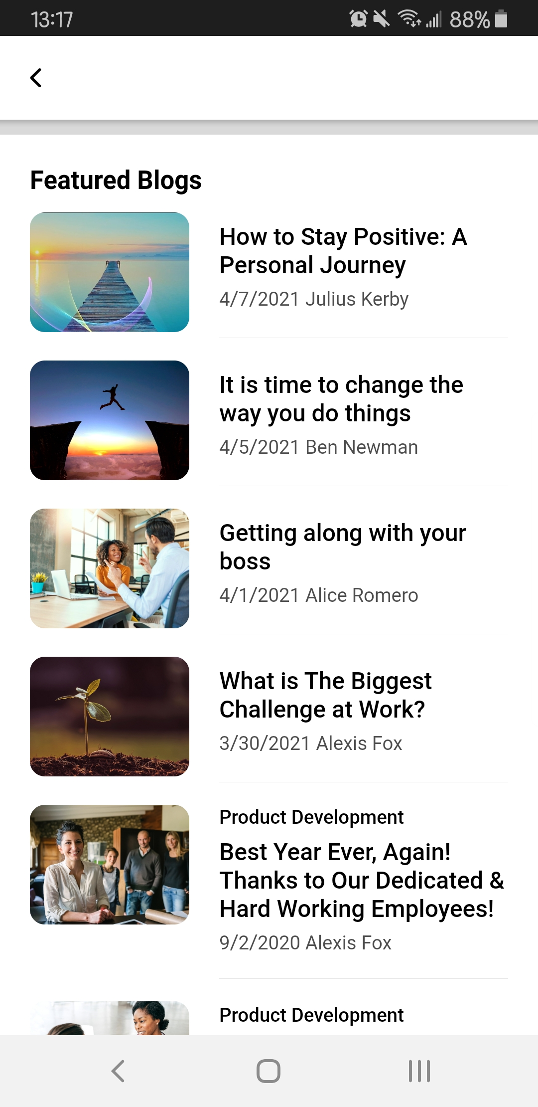 The Product Development Blogs page in the mobile app