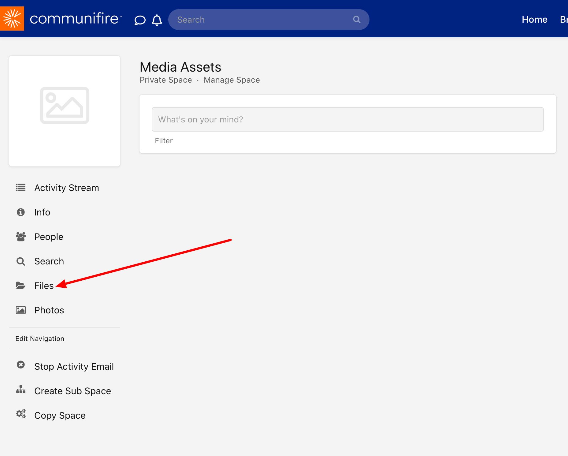 Click Files in the space menu