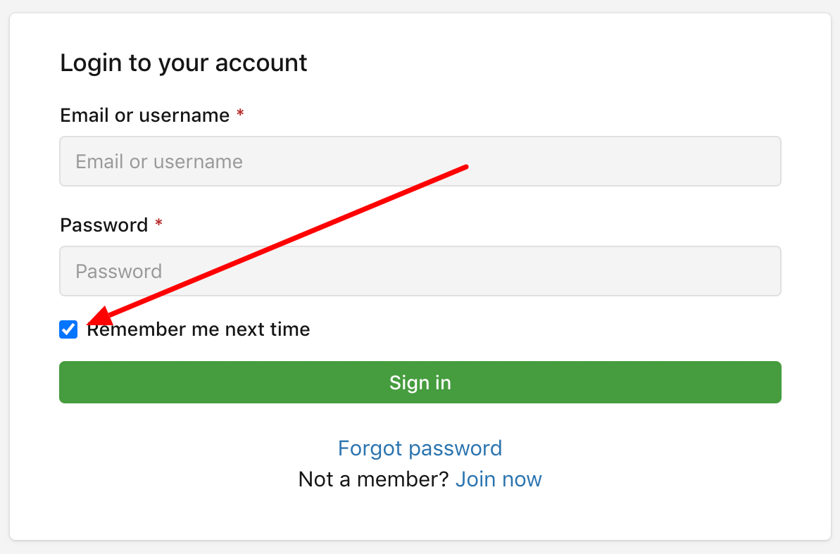 """Check """"Remember me"""" on the login page"""