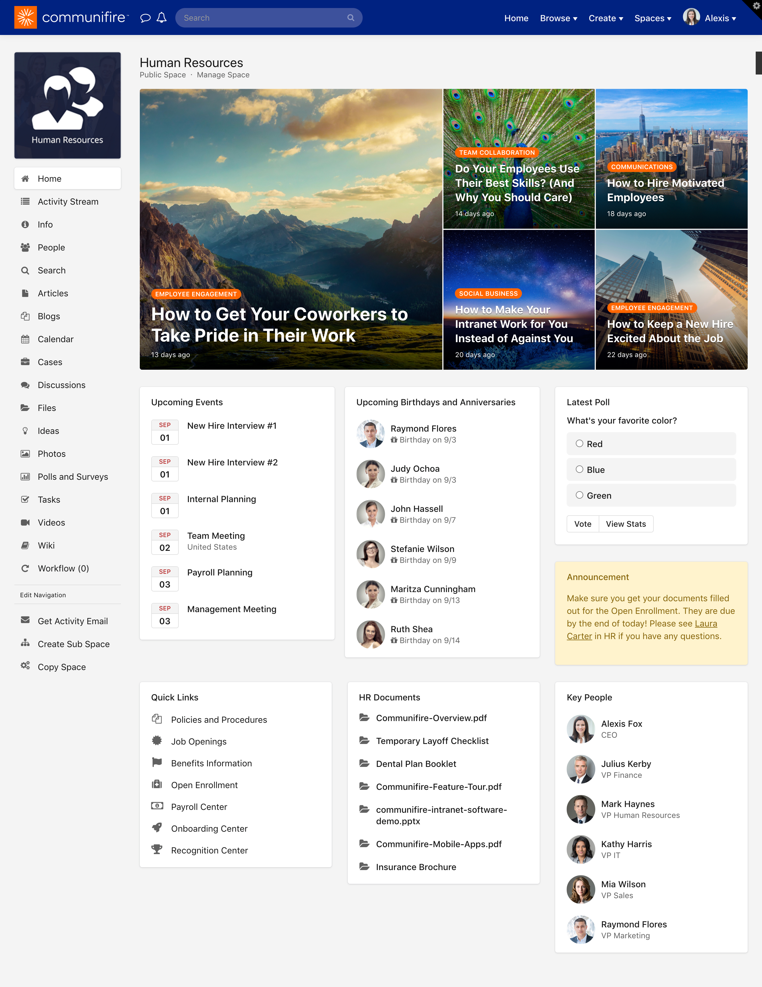 A space Page Builder homepage