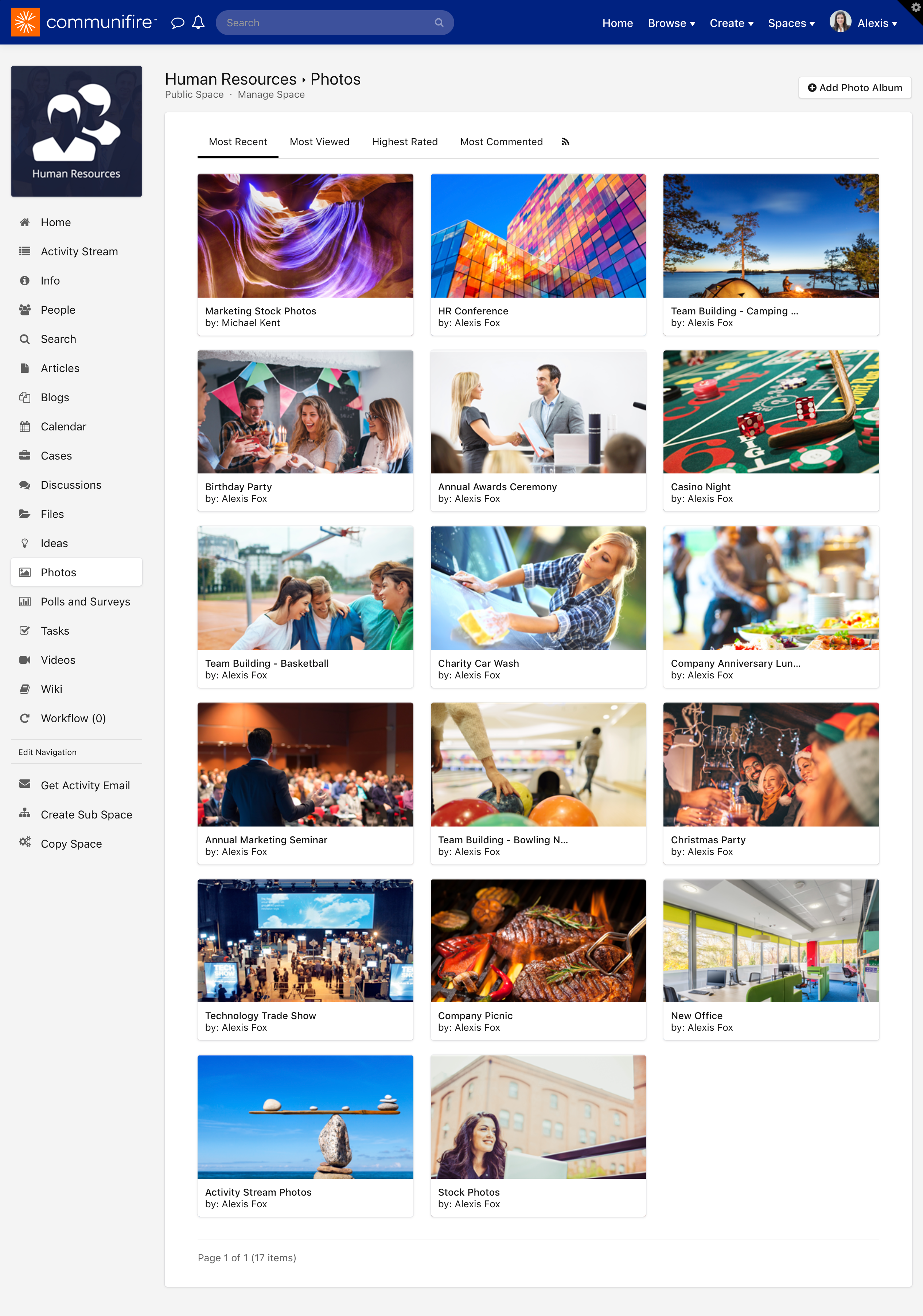 The Photos homepage