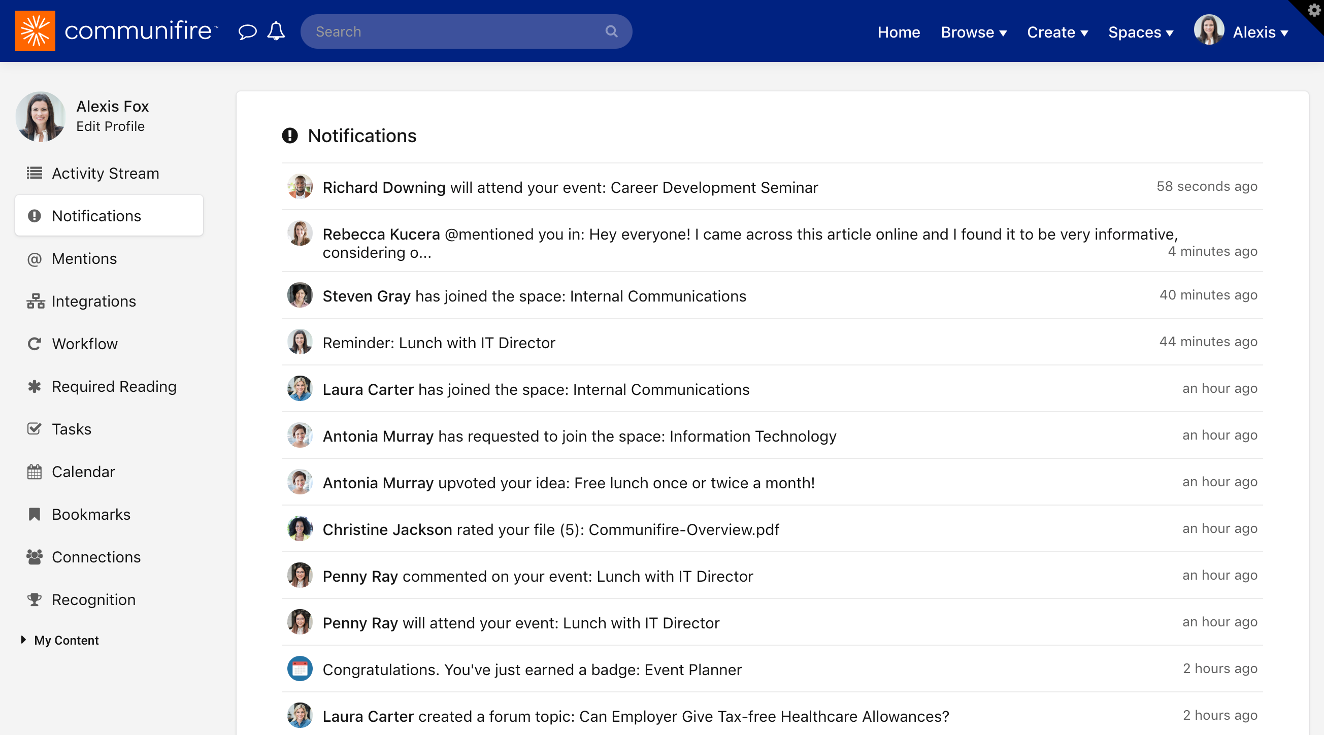 The Notifications page
