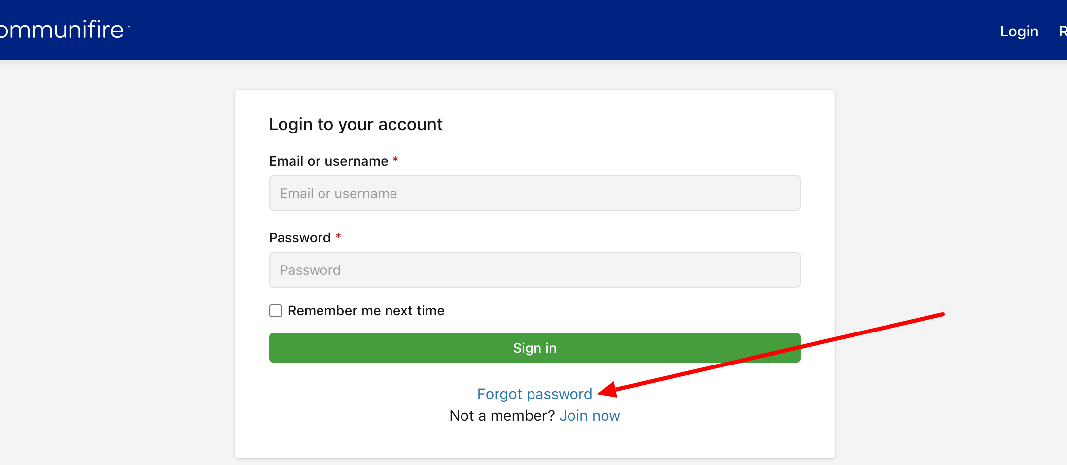 """Click """"Forgot password"""" on the login page"""