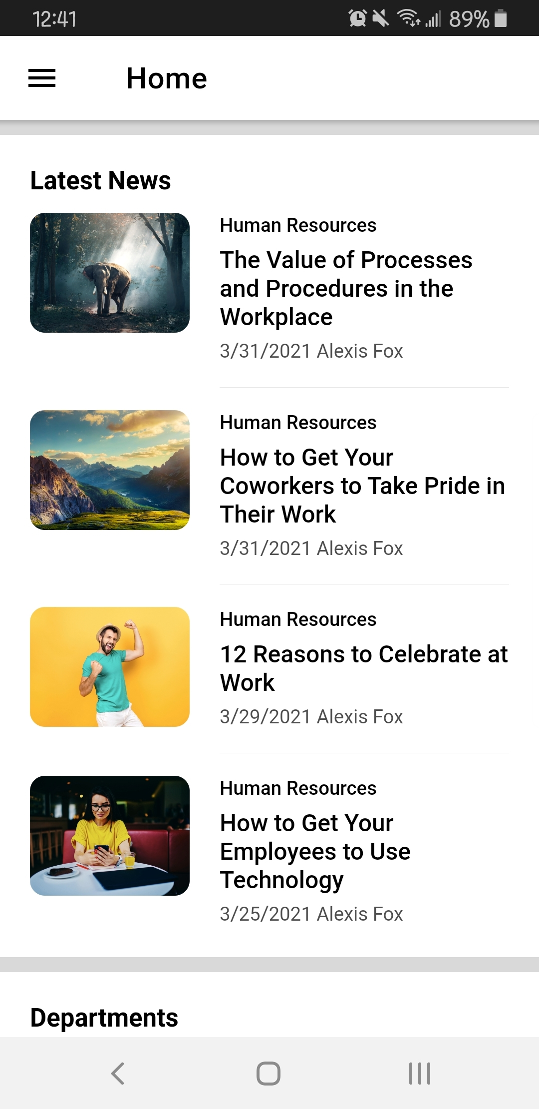 The mobile homepage