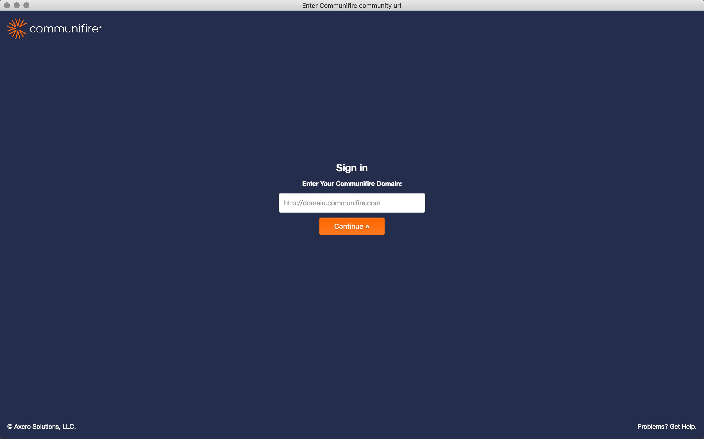 Enter your domain screen