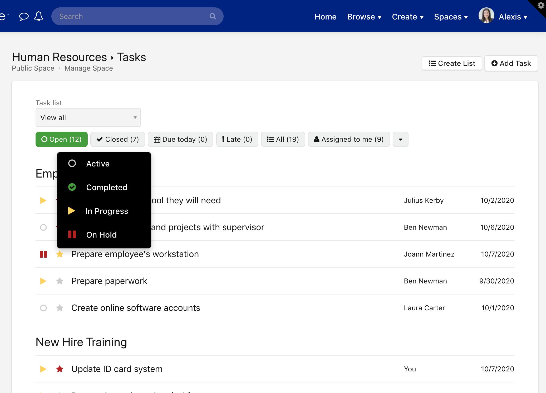 Task status menu