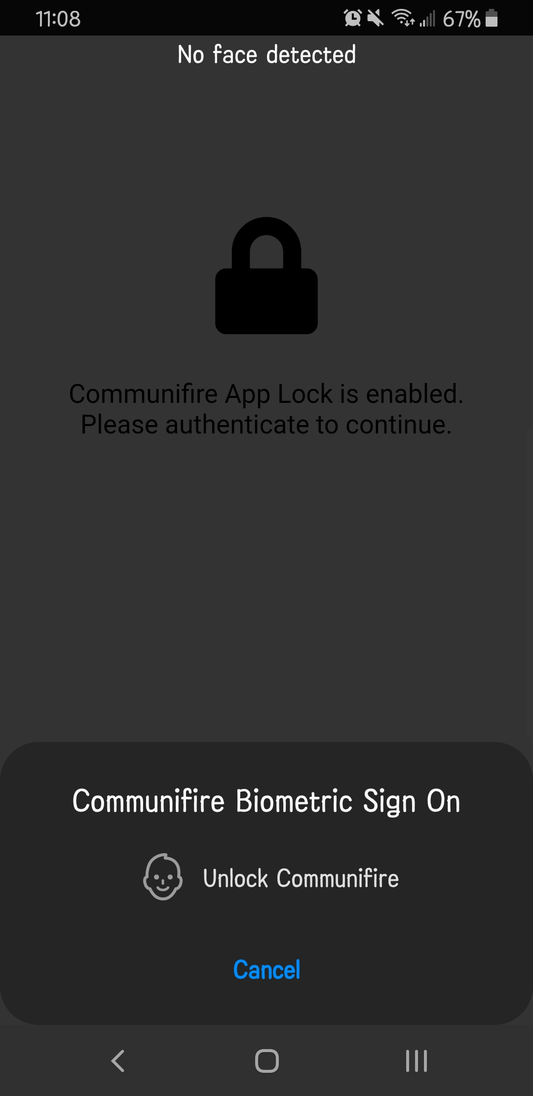 Biometrics sign on prompt