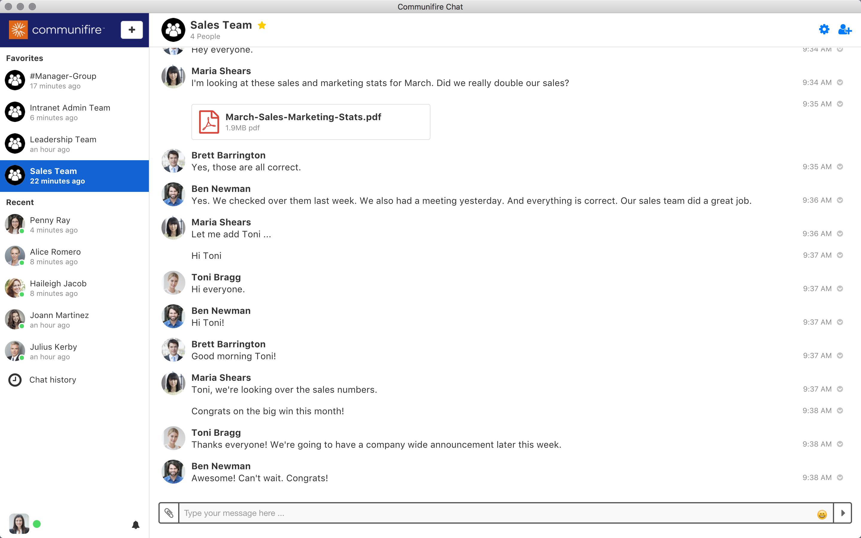 Desktop chat app