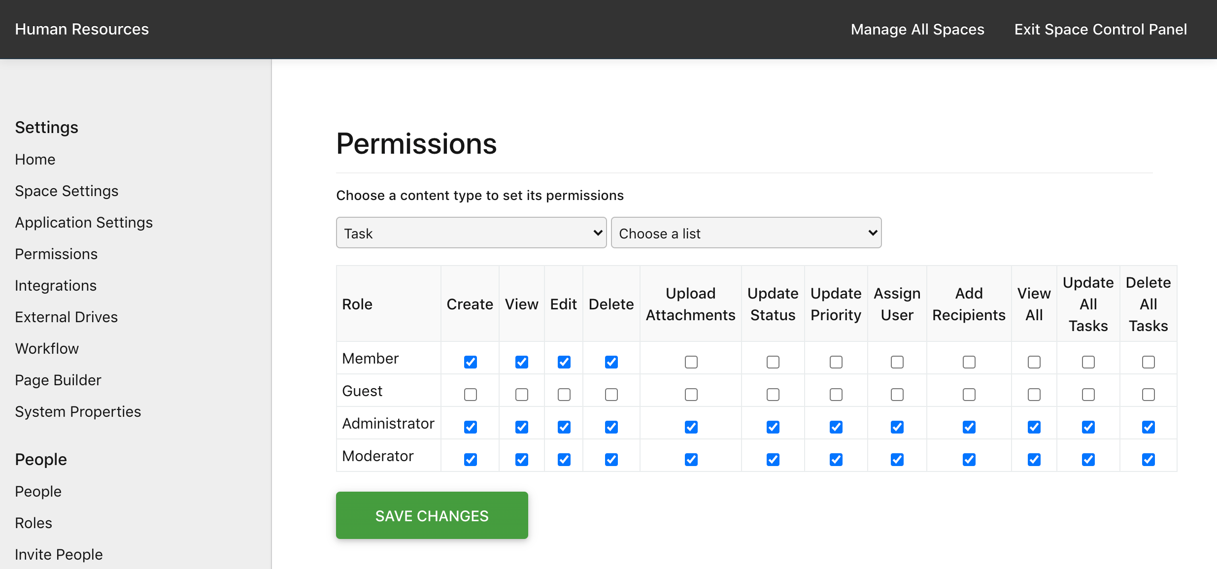 Manage Space > Permissions > Task Permissions