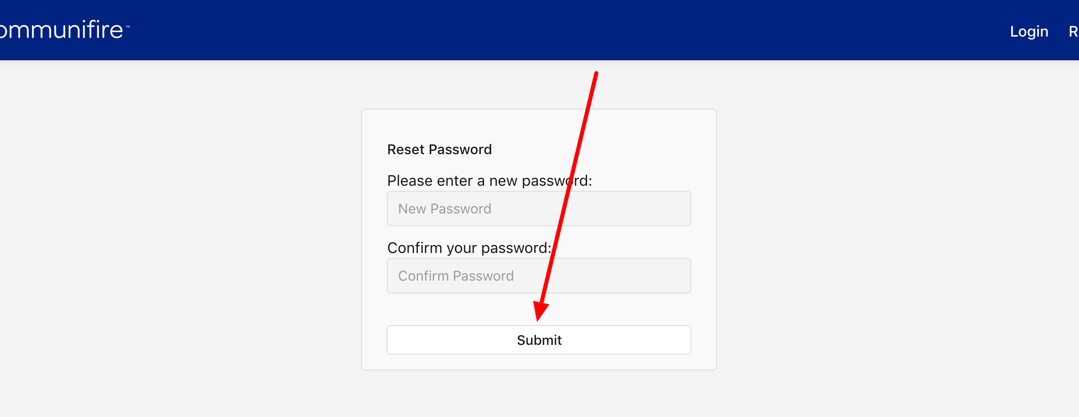 """Enter and confirm your new password and click """"Submit"""""""