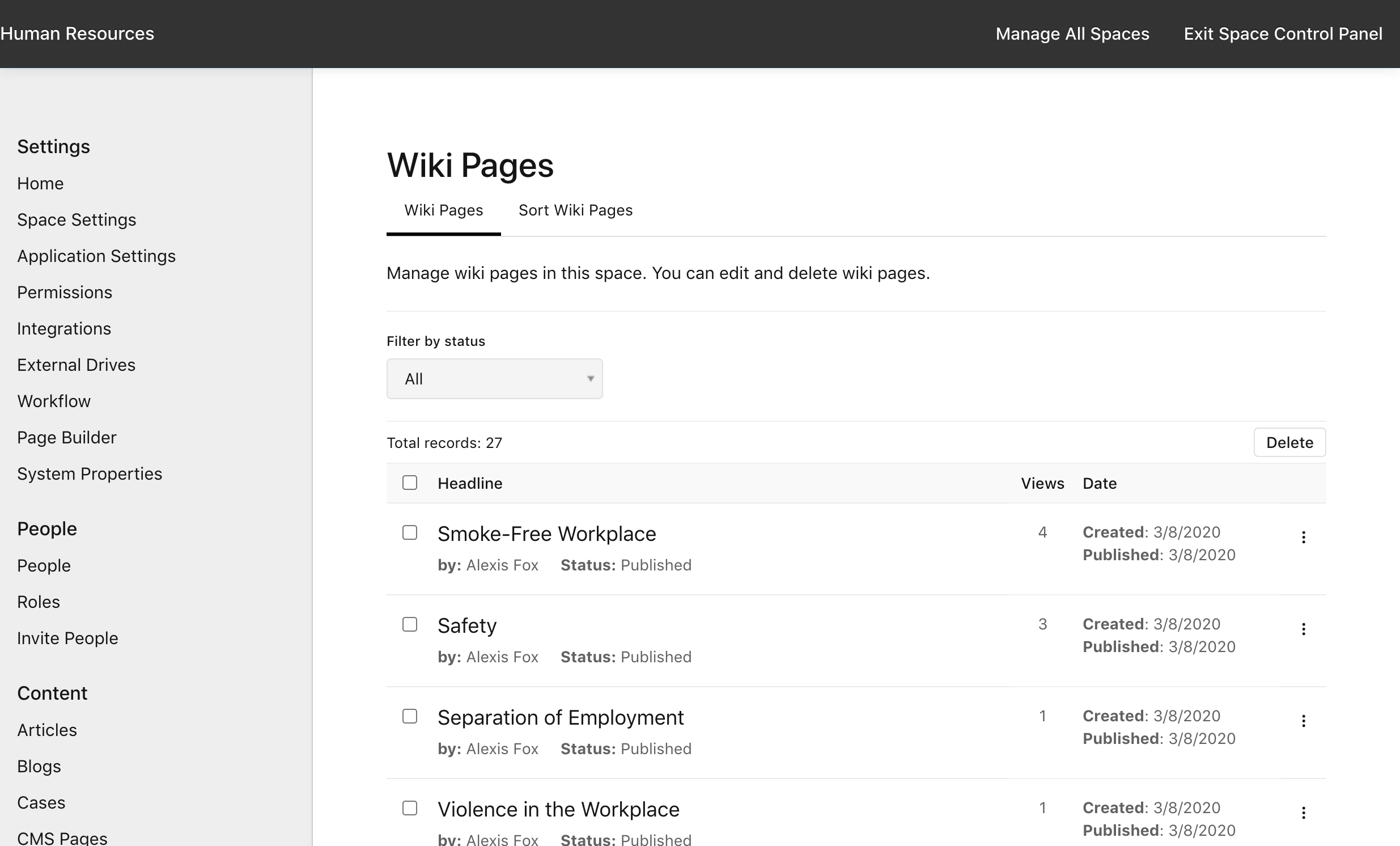 Manage Space > Wiki