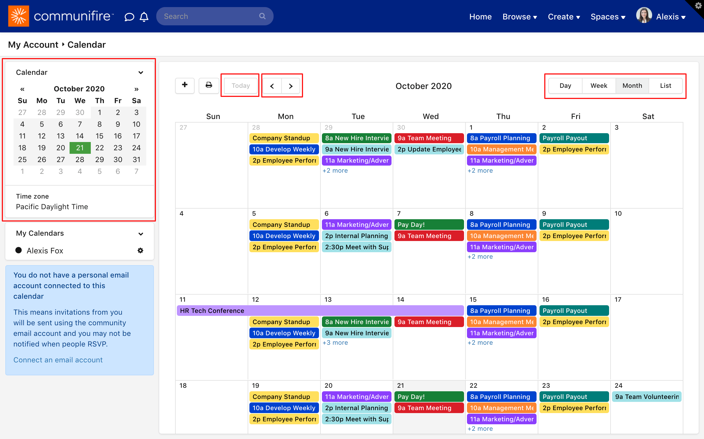 My Calendar with navigation buttons highlighted