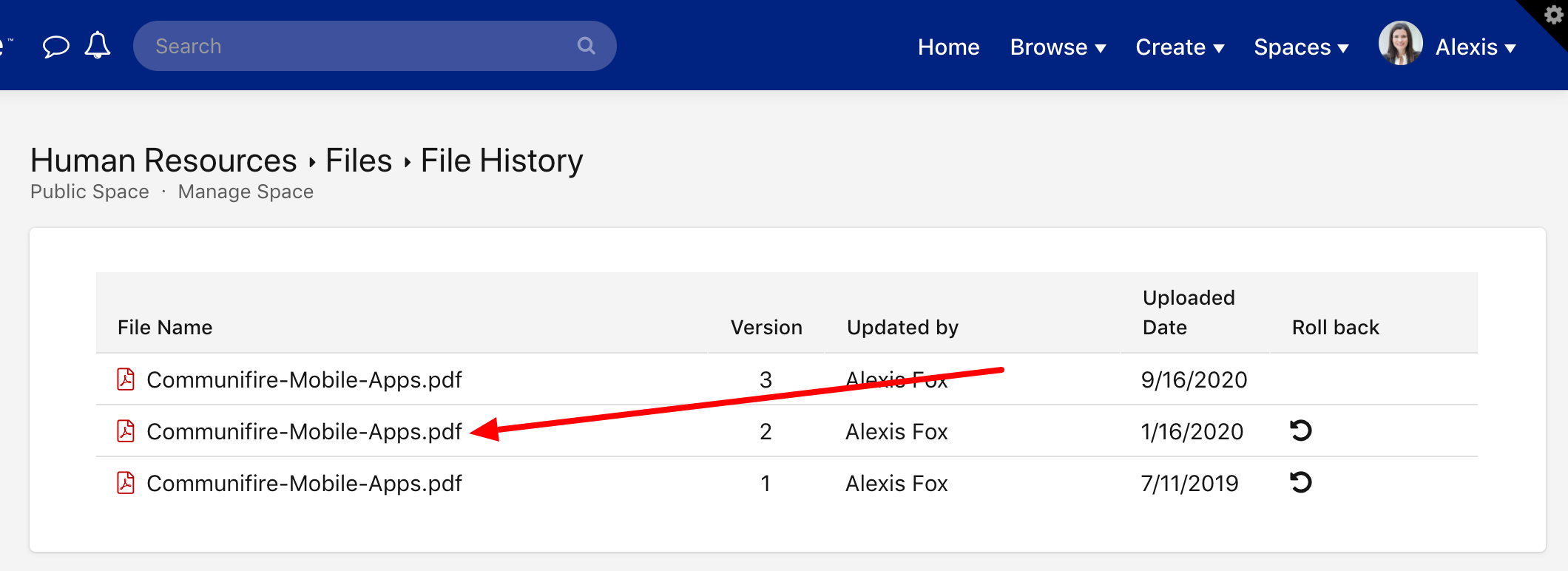 Click a file title to view that version