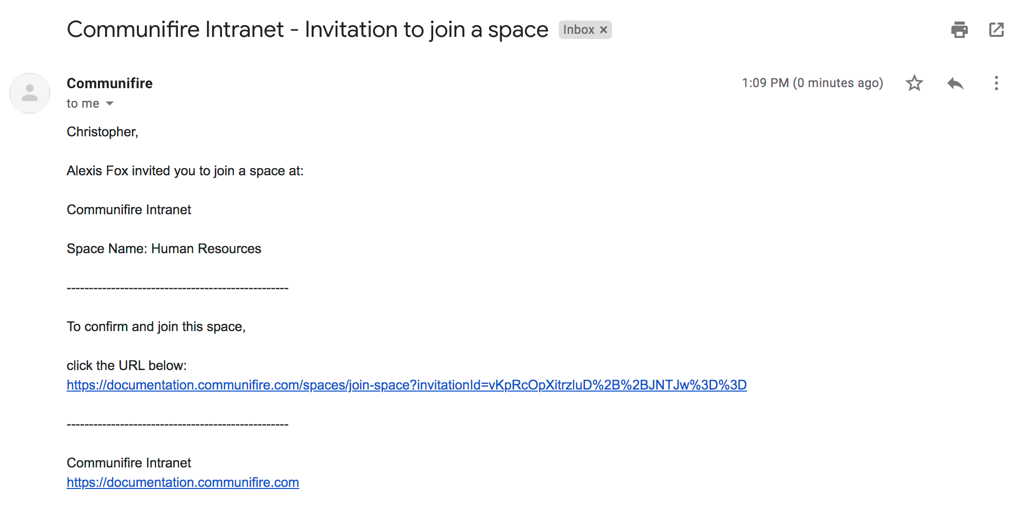 Space invitation email