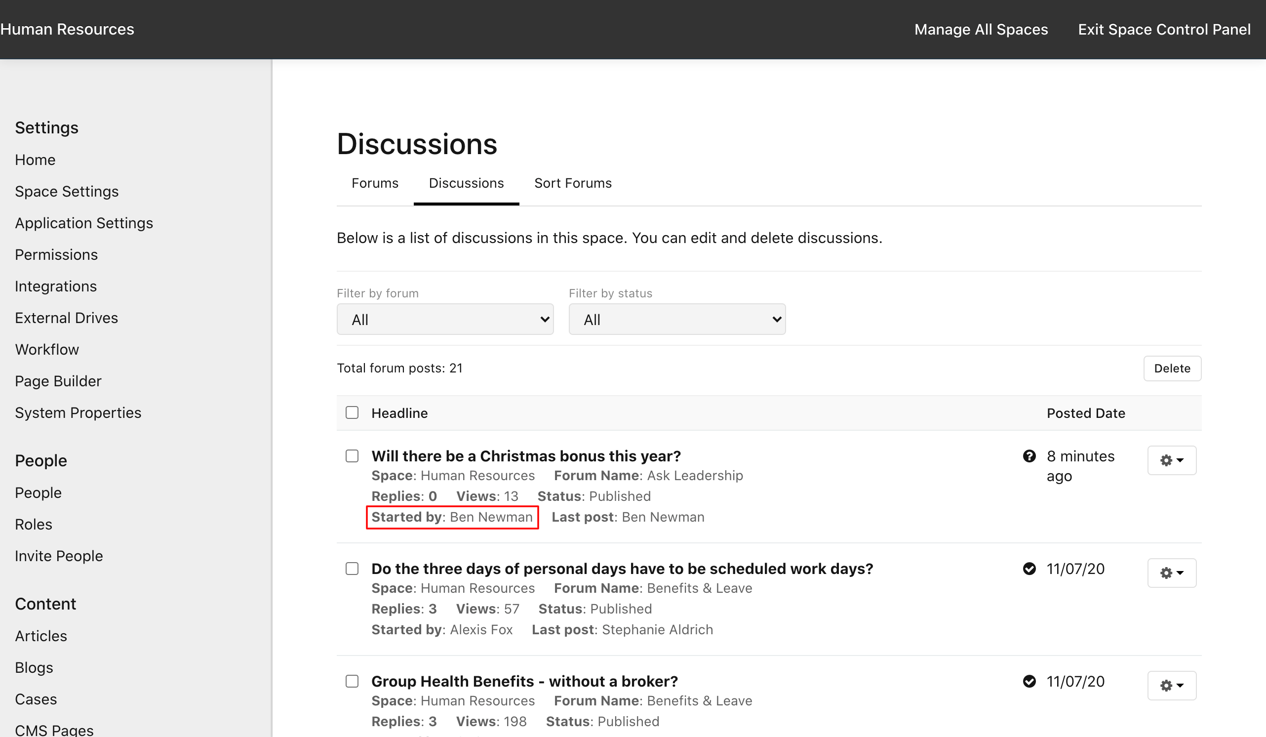 Discussion author in Manage Space