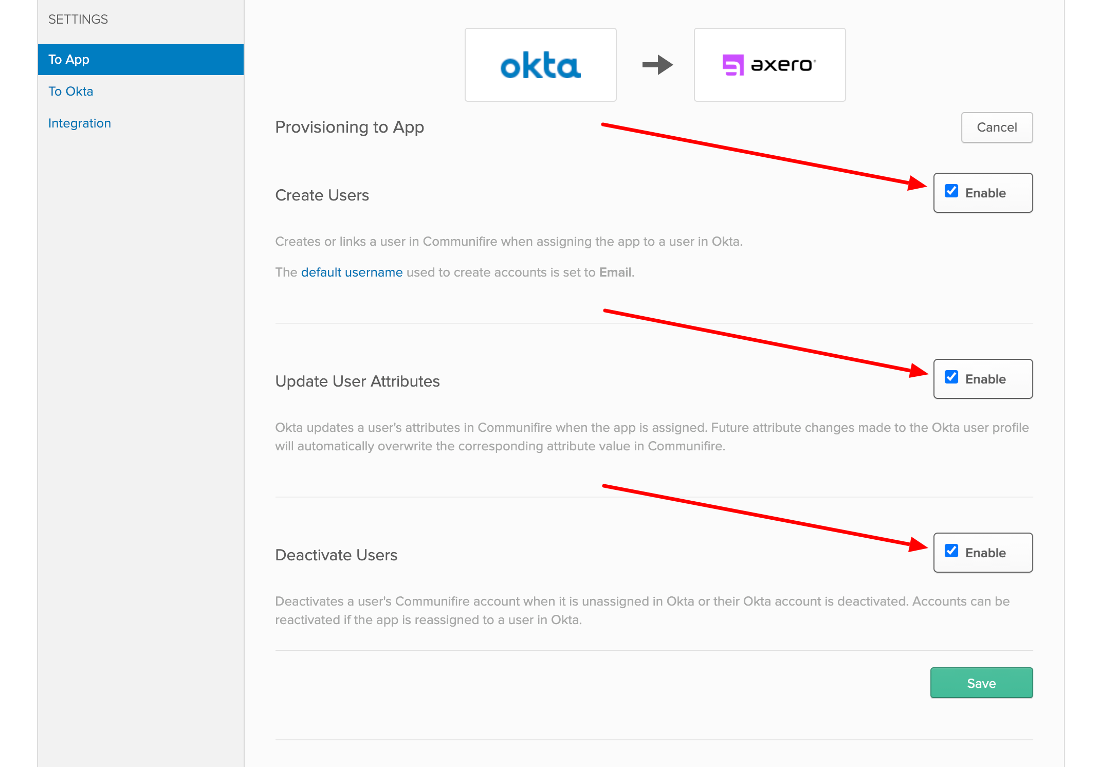 Enable Create Users, Update User Attributes, and Deactivate Users