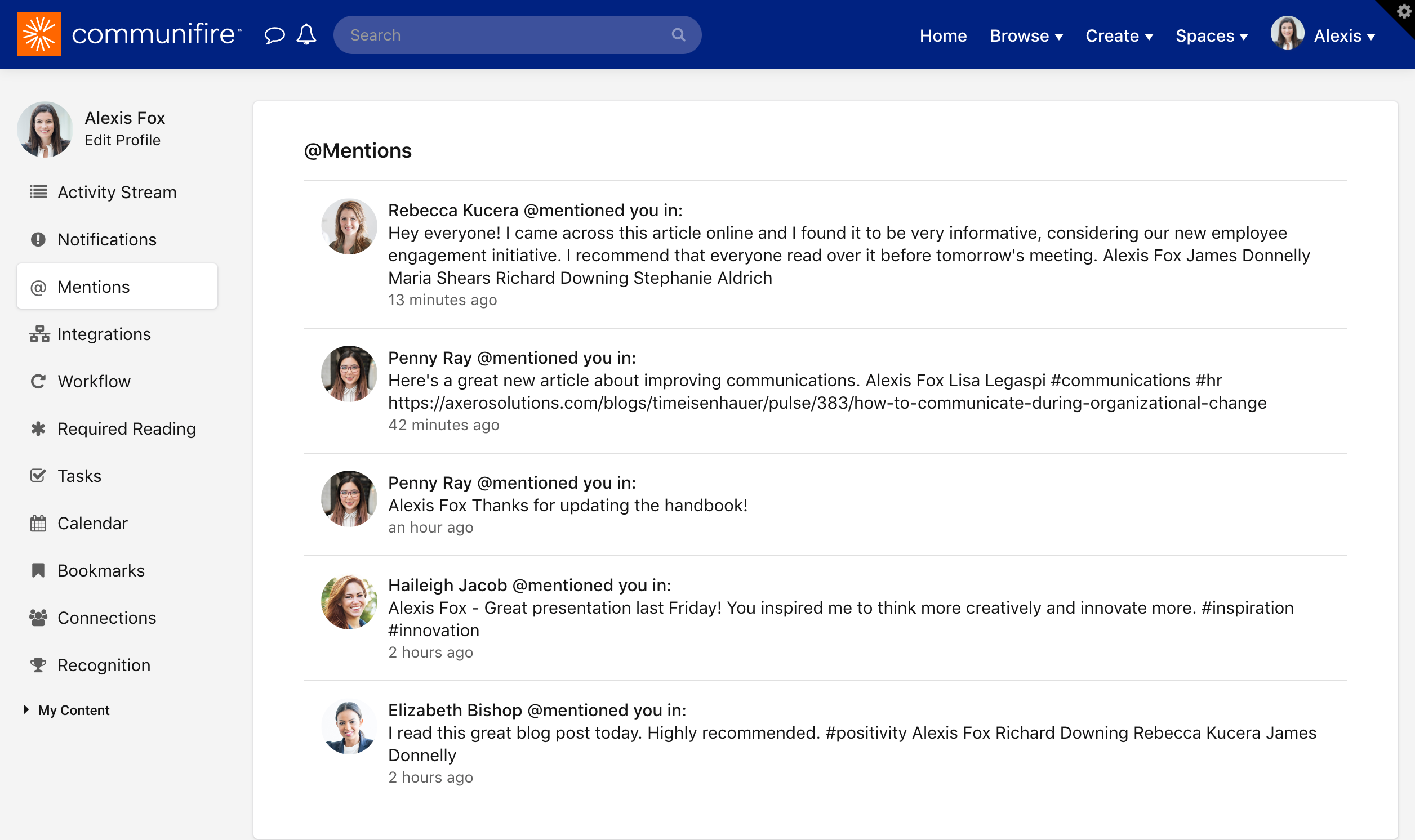 Mentions page