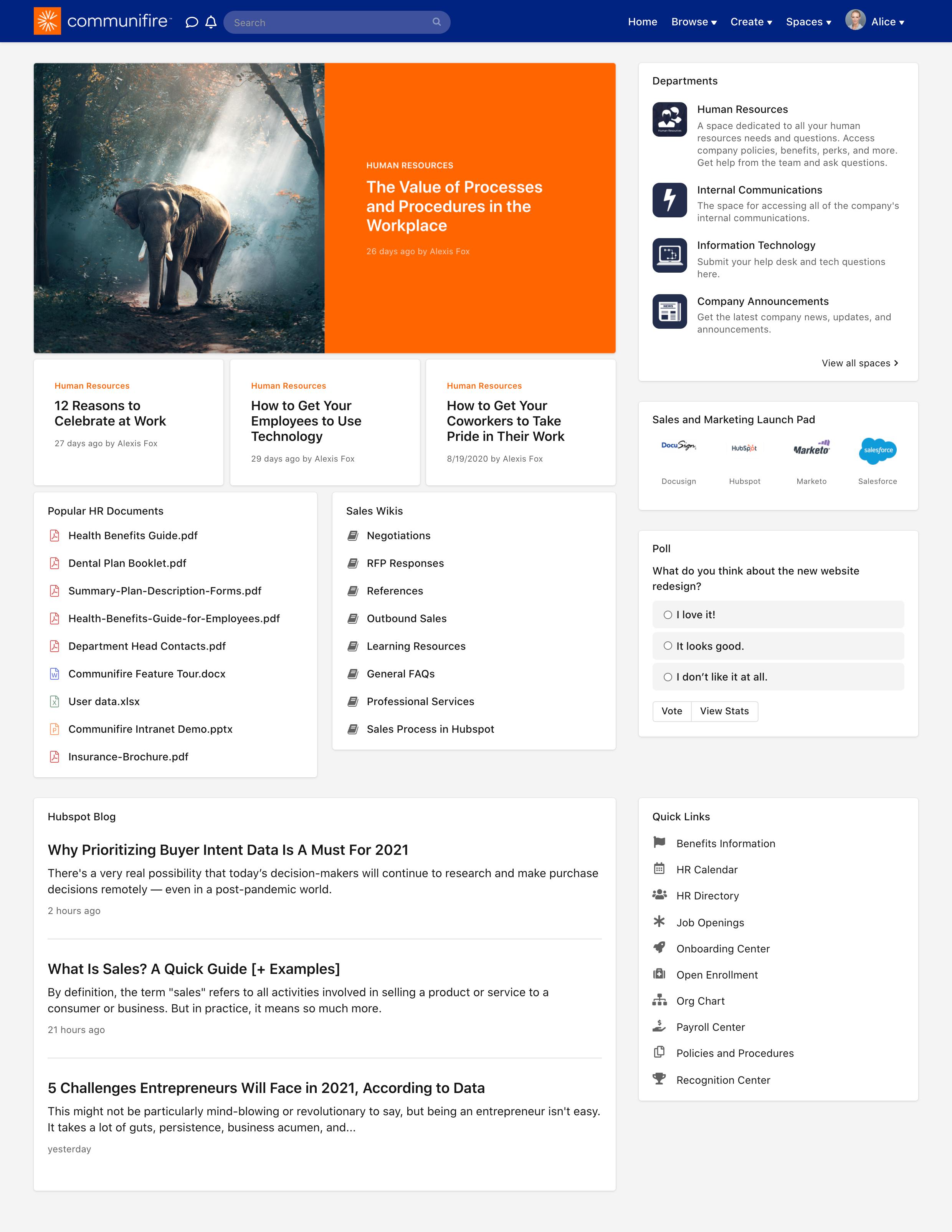 Sales team member's homepage