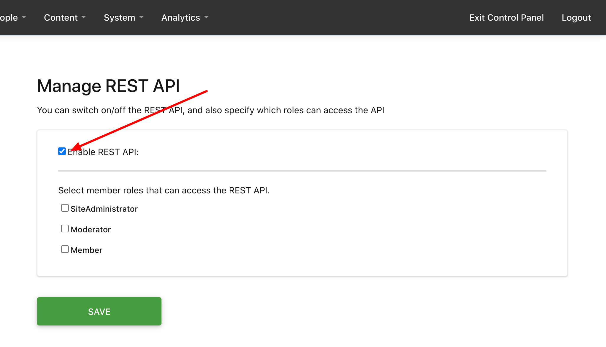 Check Enable REST API
