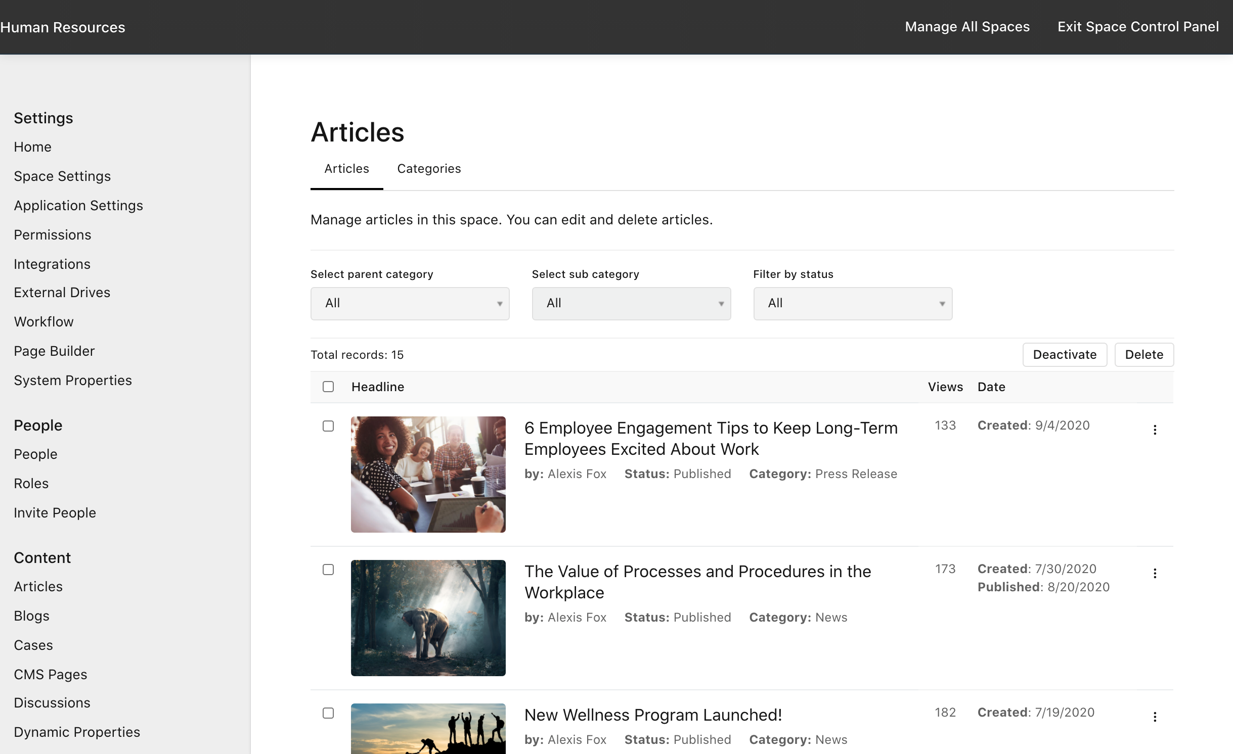 Manage Space > Articles