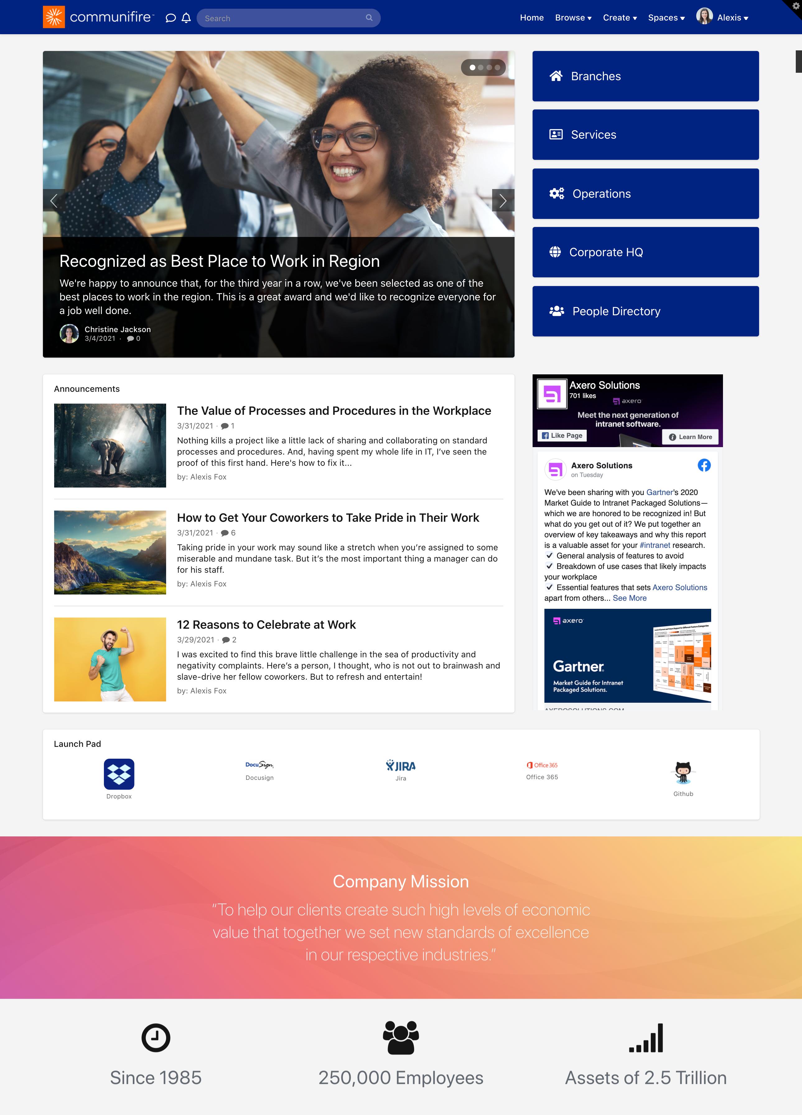 Sample homepage
