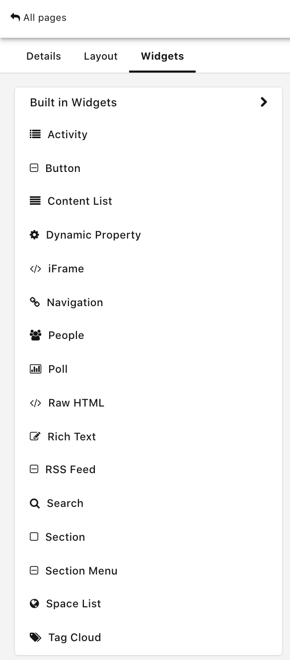 The Widgets tab in Page Builder