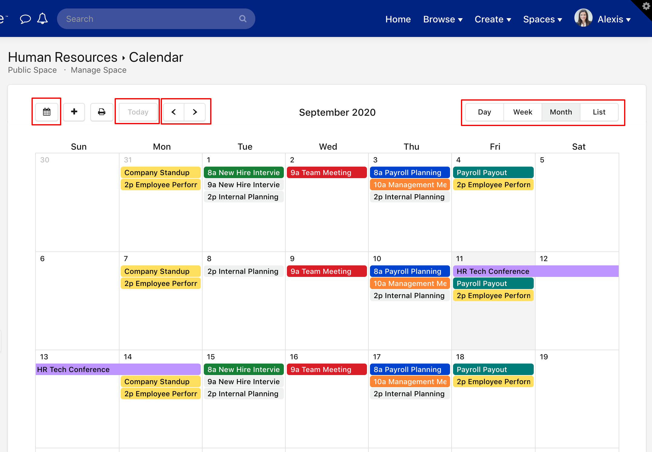 A space calendar with navigation buttons highlighted