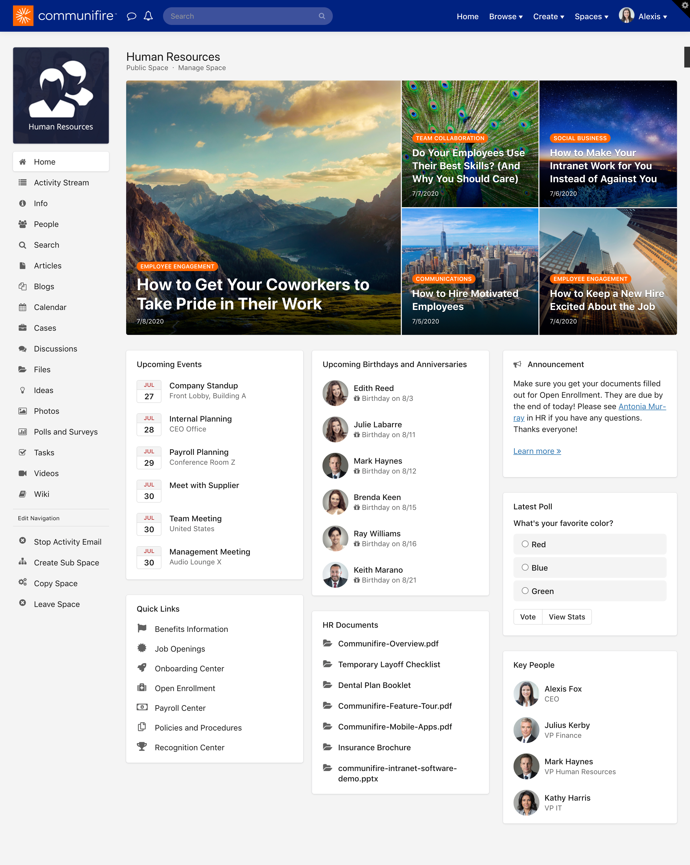 Page Builder homepage for a space