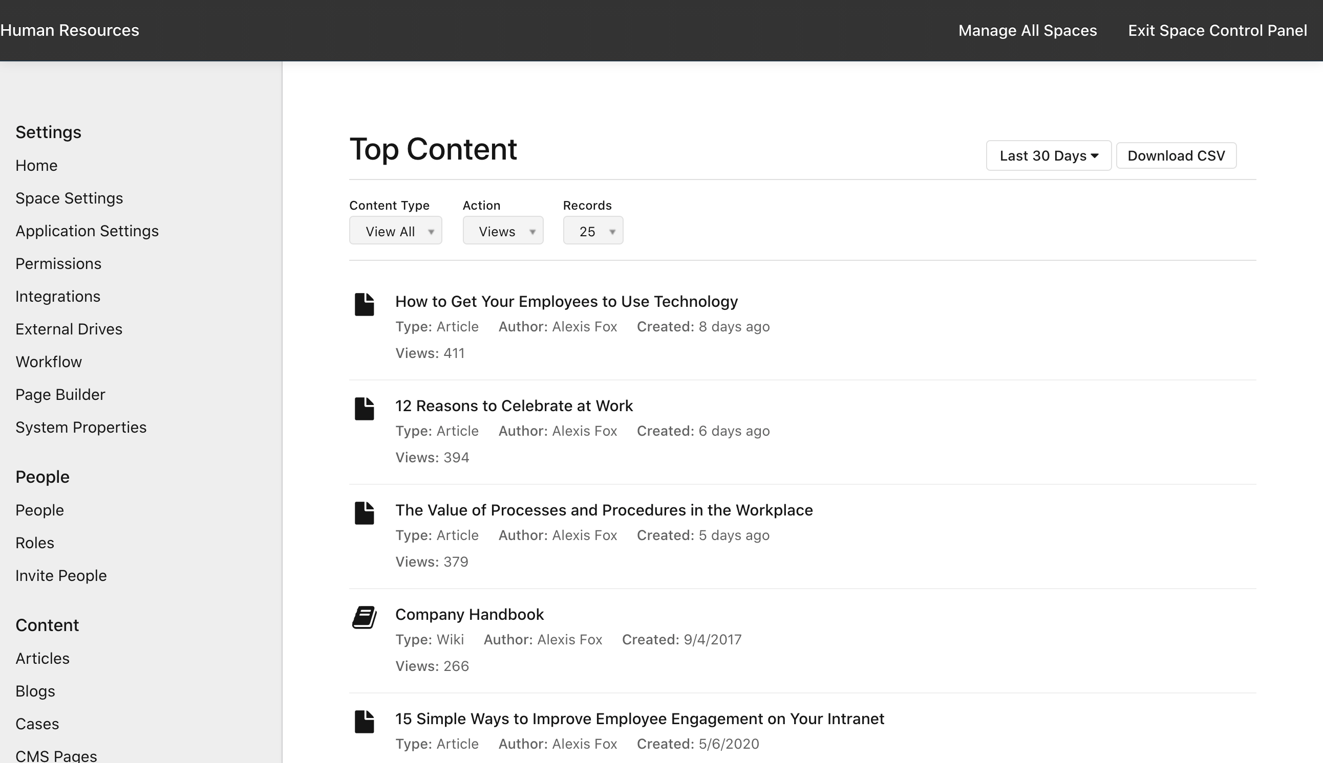 Manage Space: Top Content