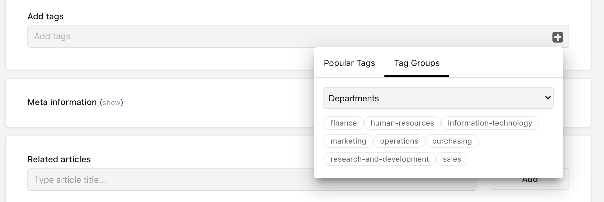 Tag groups on the add content page