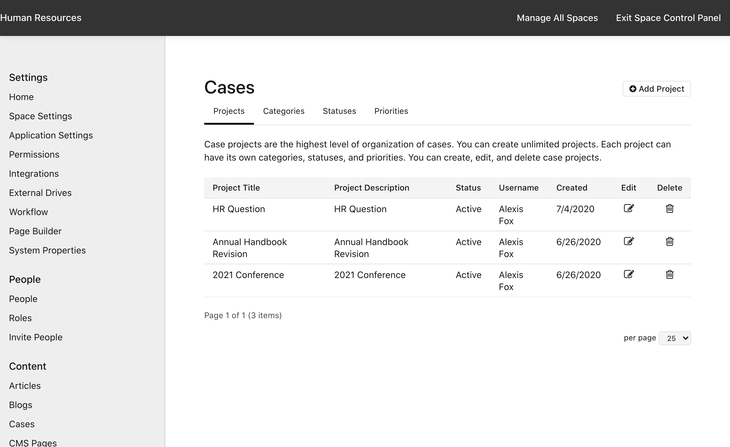 Manage Space > Cases