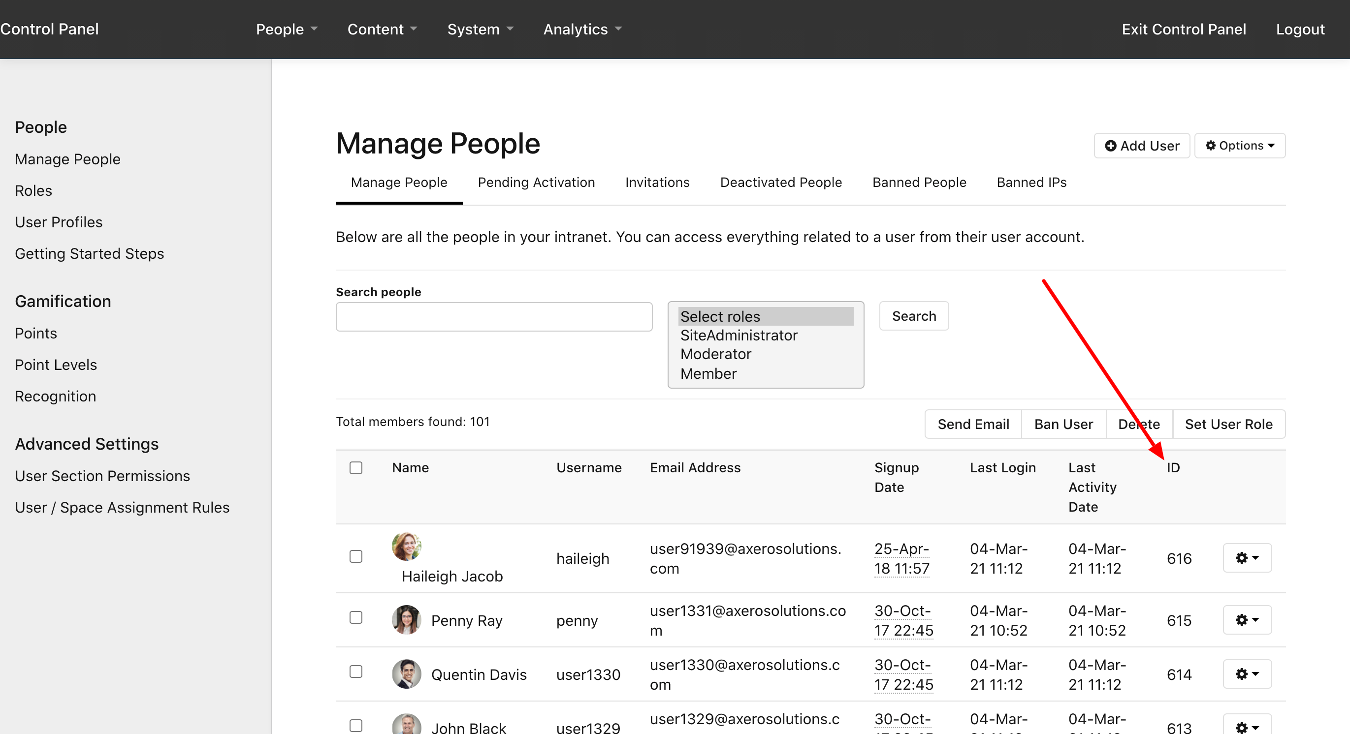 User IDs in Manage People
