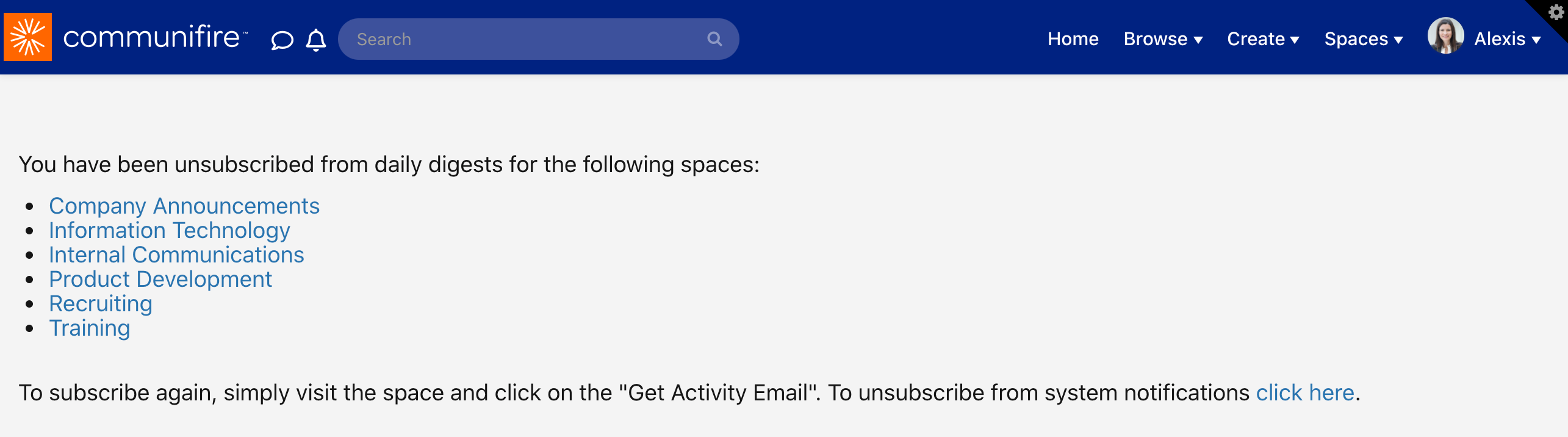 Unsubscribed page
