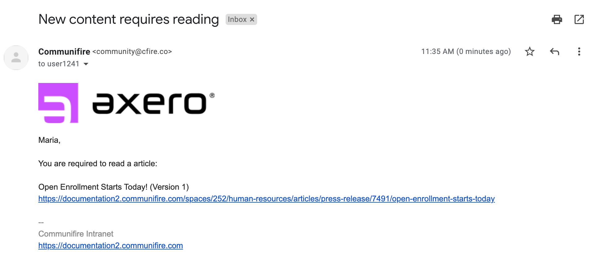 Example email with an image