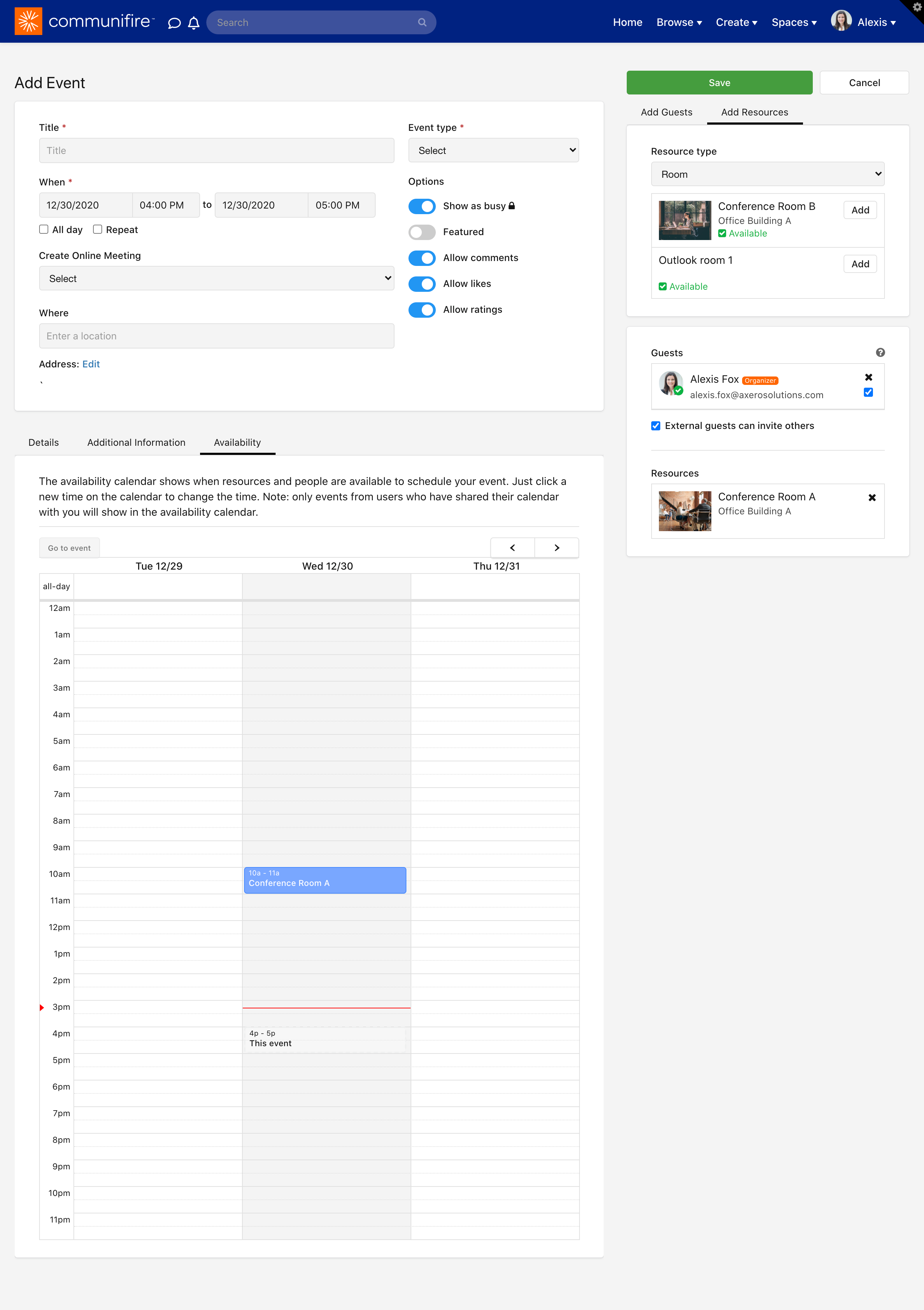 The availability calendar shows the availability of event guests and event resources.