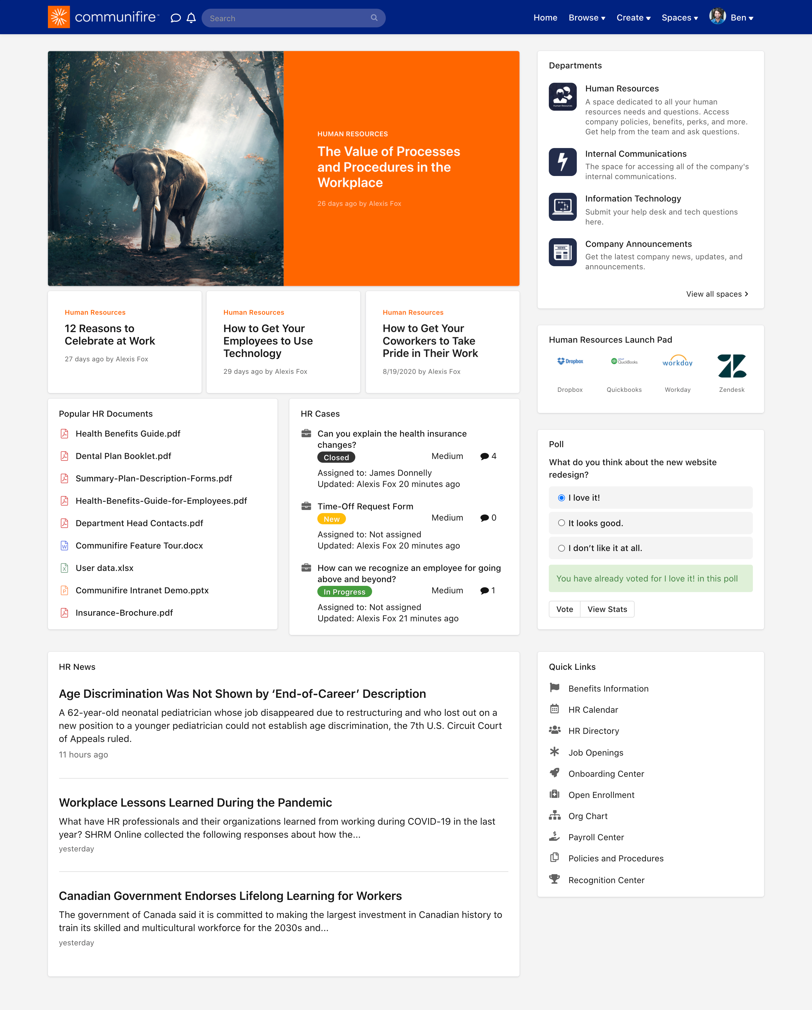HR team member's homepage