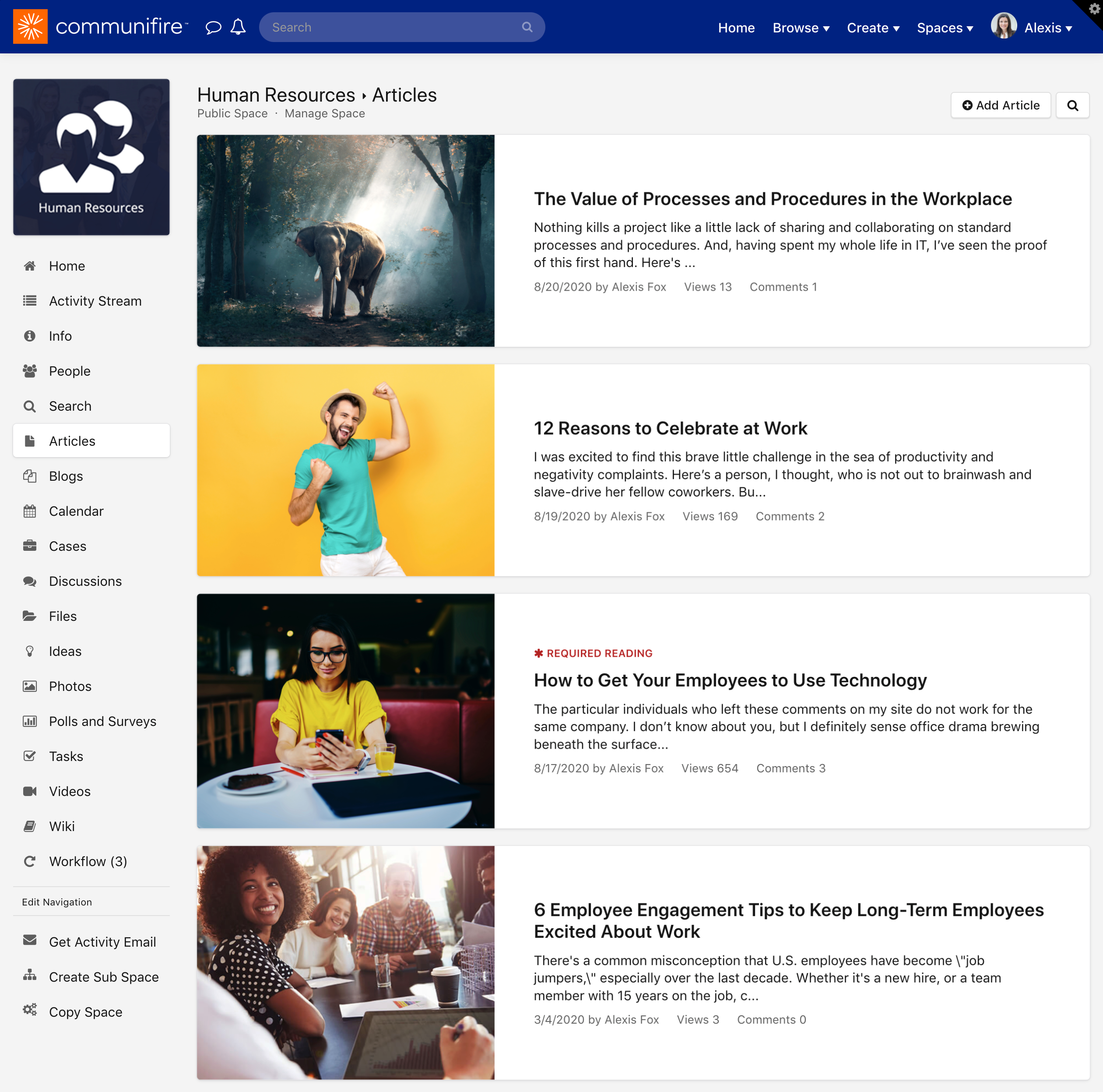The articles homepage