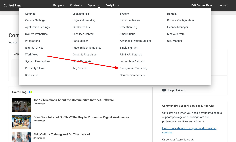 Click System > Background Tasks Log