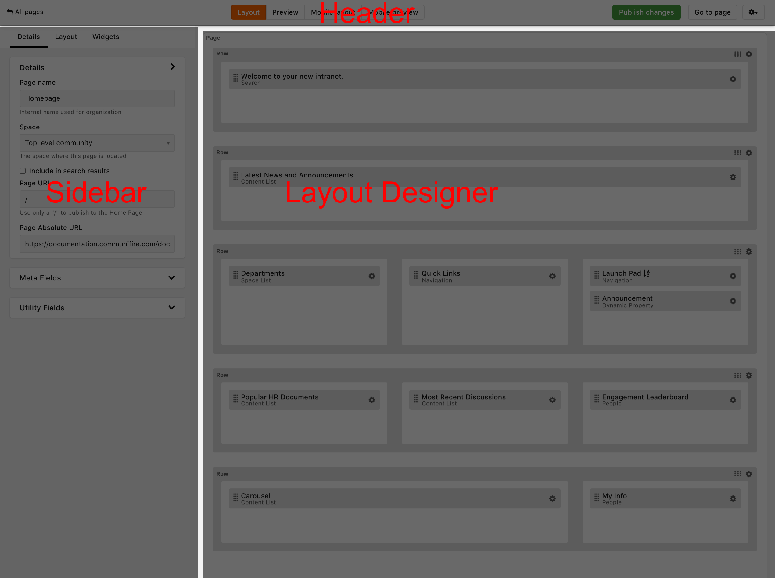 The Page Builder interface