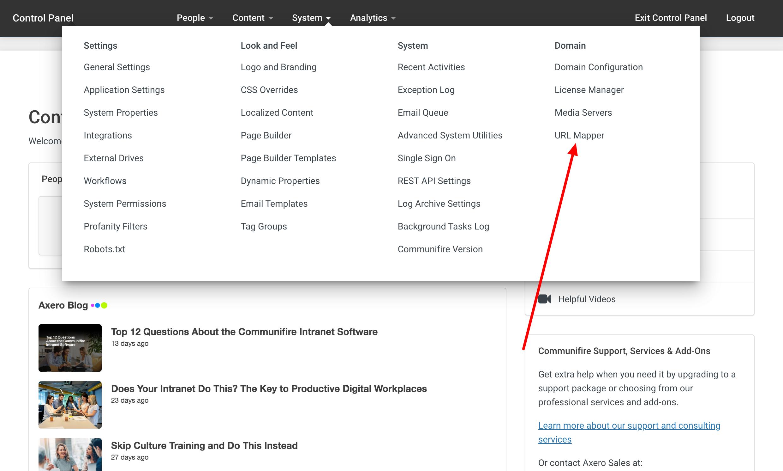 Click System > URL Mapper