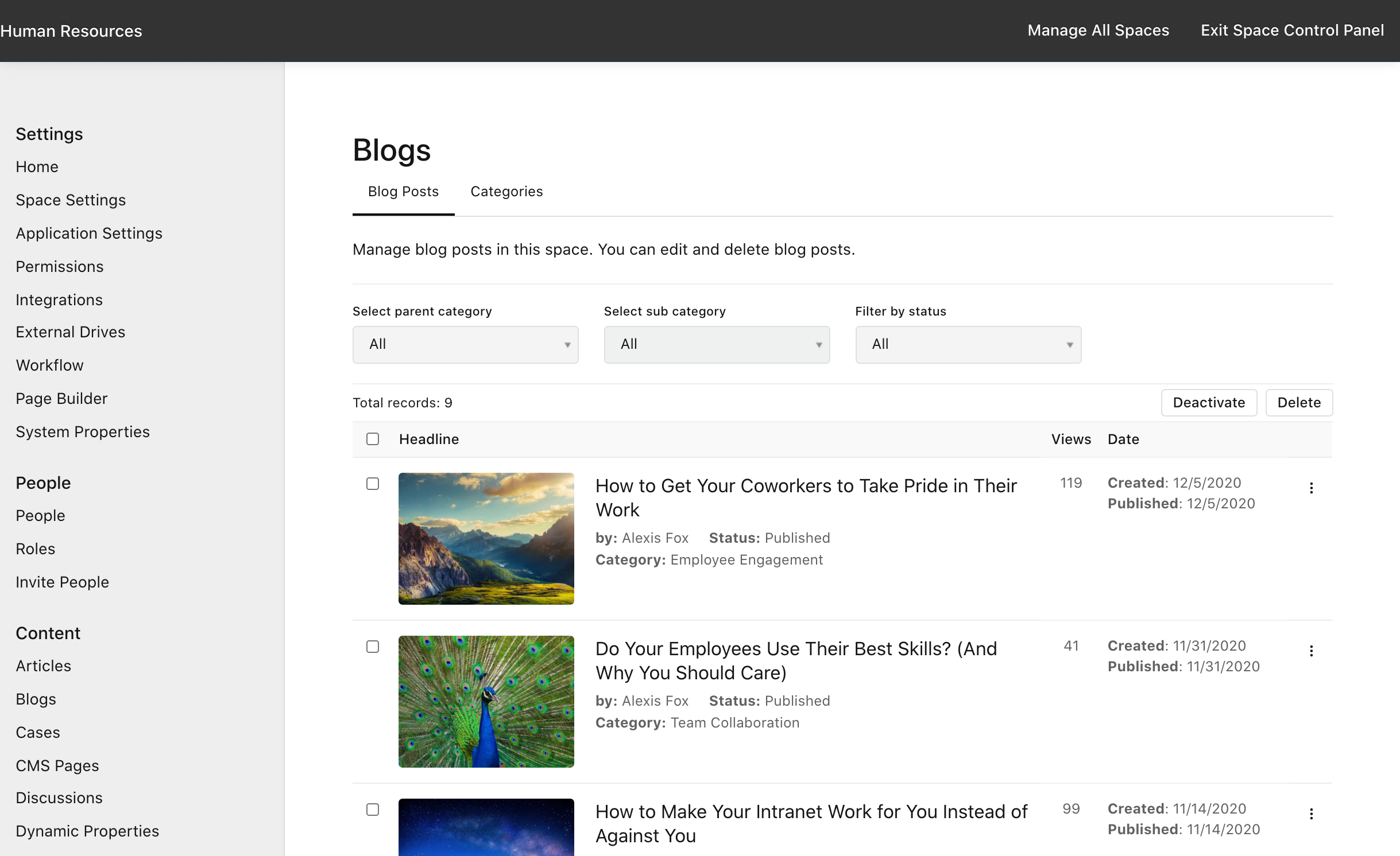 Manage Space > Blogs