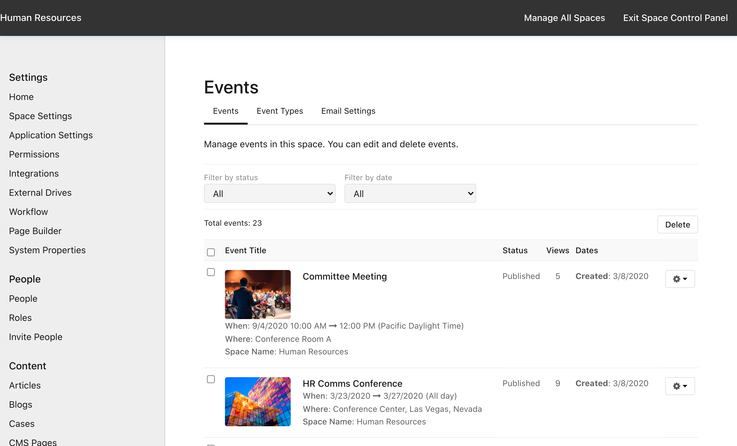 Manage Space > Events